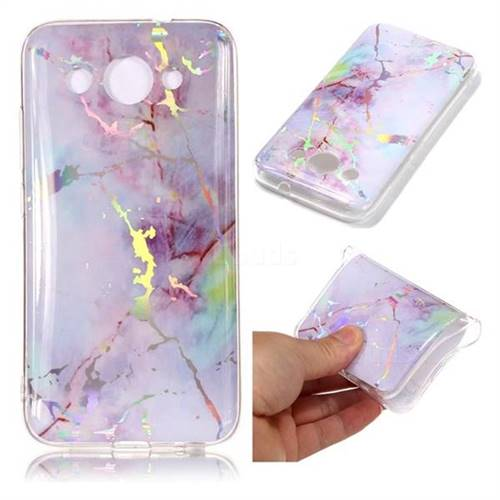 Pink Purple Marble Pattern Bright Color Laser Soft TPU Case for Huawei Y3 (2018)
