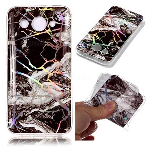 White Black Marble Pattern Bright Color Laser Soft TPU Case for Huawei Y3 (2018)