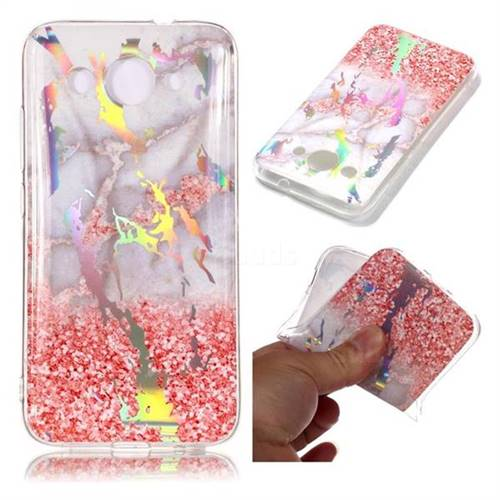 Powder Sandstone Marble Pattern Bright Color Laser Soft TPU Case for Huawei Y3 (2018)