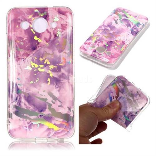 Purple Marble Pattern Bright Color Laser Soft TPU Case for Huawei Y3 (2018)