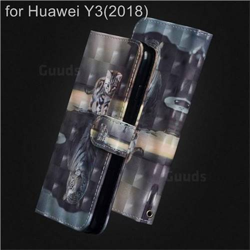 Tiger and Cat 3D Painted Leather Wallet Case for Huawei Y3 (2018)