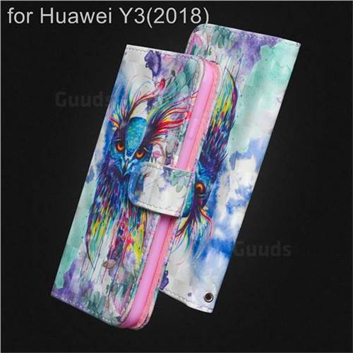 Watercolor Owl 3D Painted Leather Wallet Case for Huawei Y3 (2018)