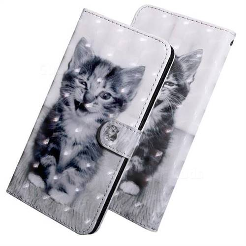Smiley Cat 3D Painted Leather Wallet Case for Huawei Y3 (2018)
