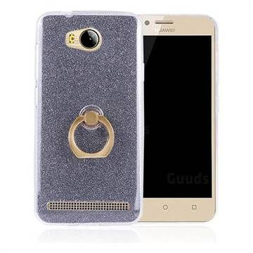 Luxury Soft TPU Glitter Back Ring Cover with 360 Rotate Finger Holder Buckle for Huawei Y3II Y3 2 Honor Bee 2 - Black