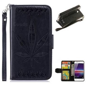 Intricate Embossing Maple Leather Wallet Case for Huawei Y3II Y3 2 Honor Bee 2 - Black