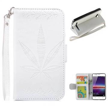 Intricate Embossing Maple Leather Wallet Case for Huawei Y3II Y3 2 Honor Bee 2 - White