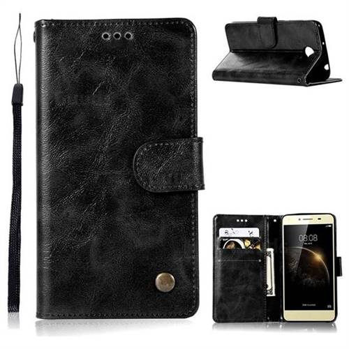 Luxury Retro Leather Wallet Case for Huawei Y3II Y3 2 Honor Bee 2 - Black