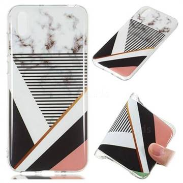 Pinstripe Soft TPU Marble Pattern Phone Case for Huawei Y5 (2019)