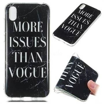 Stylish Black Soft TPU Marble Pattern Phone Case for Huawei Y5 (2019)