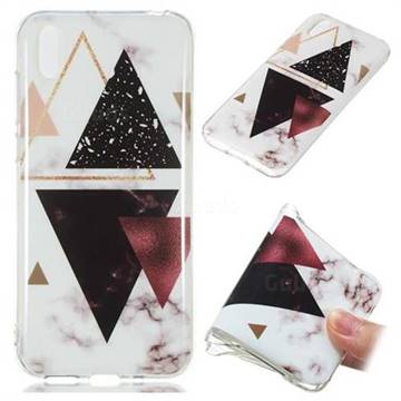Four Triangular Soft TPU Marble Pattern Phone Case for Huawei Y5 (2019)