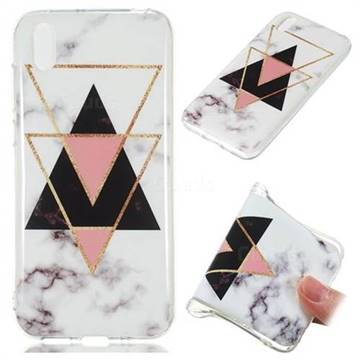Inverted Triangle Black Soft TPU Marble Pattern Phone Case for Huawei Y5 (2019)