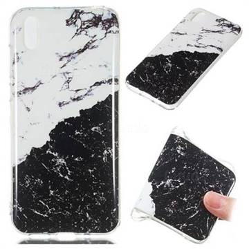 Black and White Soft TPU Marble Pattern Phone Case for Huawei Y5 (2019)