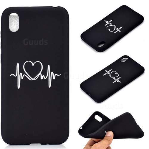 Heart Radio Wave Chalk Drawing Matte Black TPU Phone Cover for Huawei Y5 (2019)
