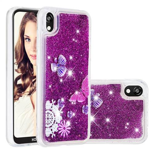 Purple Flower Butterfly Dynamic Liquid Glitter Quicksand Soft TPU Case for Huawei Y5 (2019)