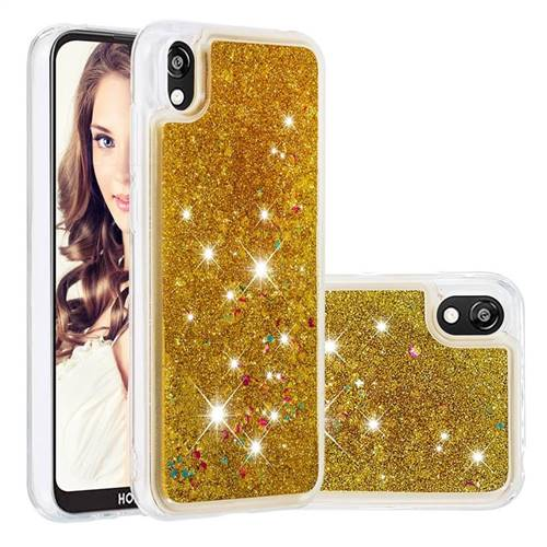 Dynamic Liquid Glitter Quicksand Sequins TPU Phone Case for Huawei Y5 (2019) - Golden