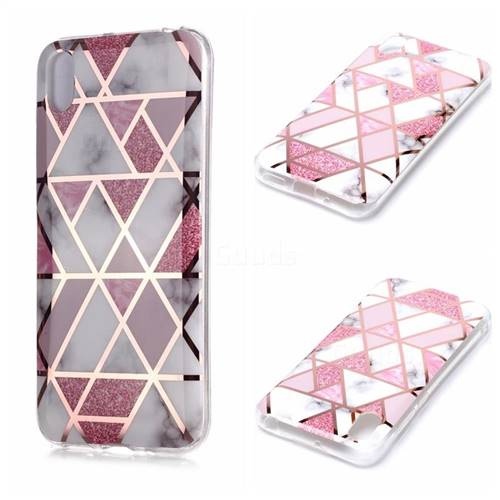 Pink Rhombus Galvanized Rose Gold Marble Phone Back Cover for Huawei Y5 (2019)