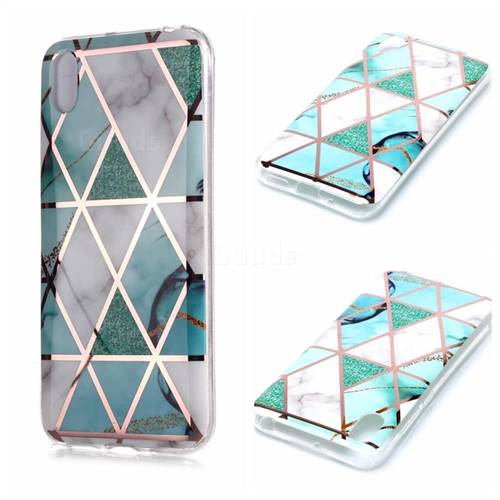 Green White Galvanized Rose Gold Marble Phone Back Cover for Huawei Y5 (2019)