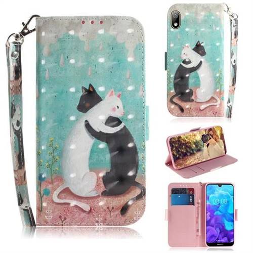 Black and White Cat 3D Painted Leather Wallet Phone Case for Huawei Y5 (2019)