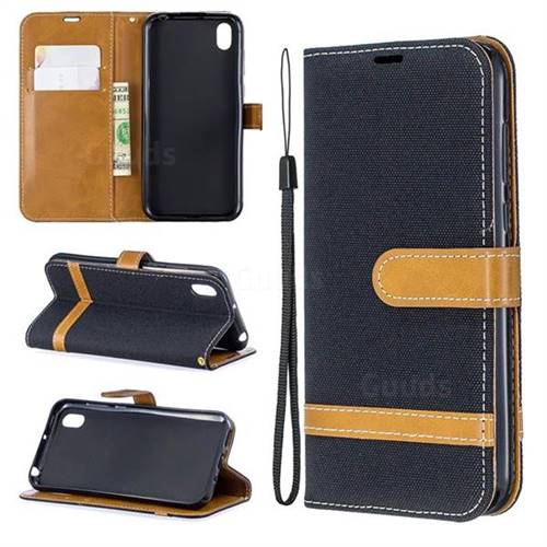 Jeans Cowboy Denim Leather Wallet Case for Huawei Y5 (2019) - Black