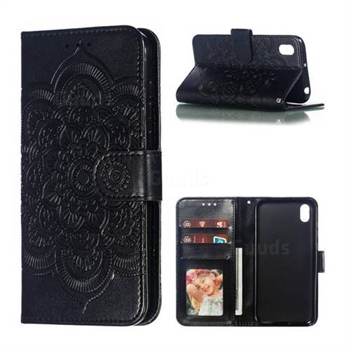 Intricate Embossing Datura Solar Leather Wallet Case for Huawei Y5 (2019) - Black