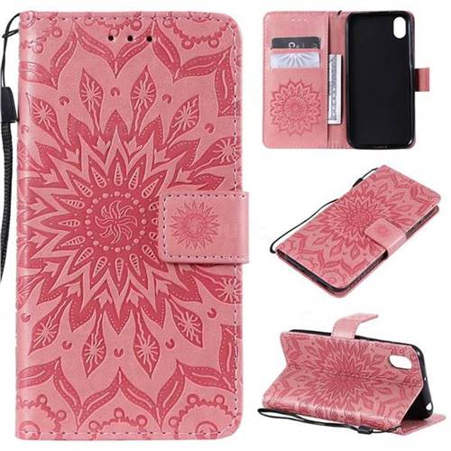Embossing Sunflower Leather Wallet Case for Huawei Y5 (2019) - Pink