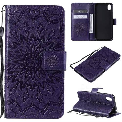 Embossing Sunflower Leather Wallet Case for Huawei Y5 (2019) - Purple