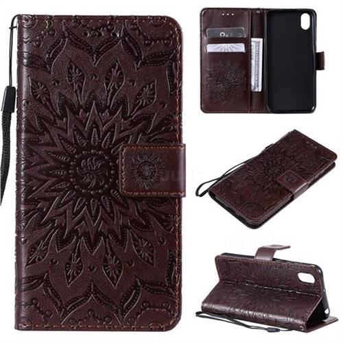 Embossing Sunflower Leather Wallet Case for Huawei Y5 (2019) - Brown