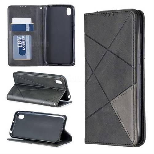 Prismatic Slim Magnetic Sucking Stitching Wallet Flip Cover for Huawei Y5 (2019) - Black