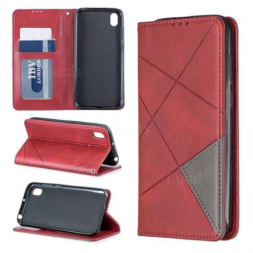Prismatic Slim Magnetic Sucking Stitching Wallet Flip Cover for Huawei Y5 (2019) - Red