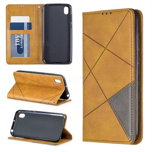 Prismatic Slim Magnetic Sucking Stitching Wallet Flip Cover for Huawei Y5 (2019) - Yellow