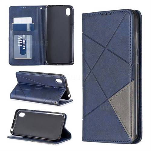 Prismatic Slim Magnetic Sucking Stitching Wallet Flip Cover for Huawei Y5 (2019) - Blue