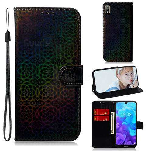 Laser Circle Shining Leather Wallet Phone Case for Huawei Y5 (2019) - Black