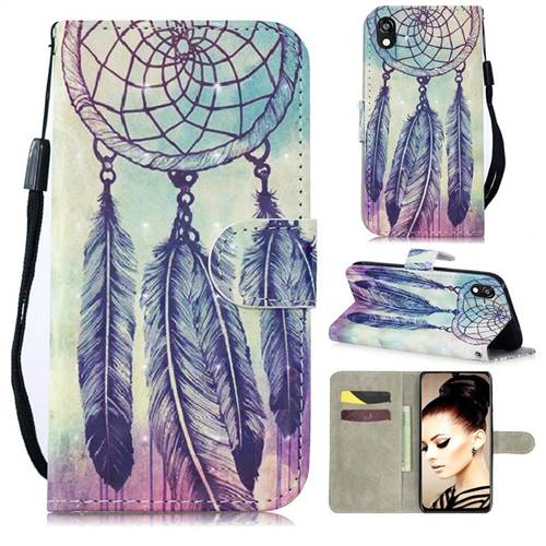 Feather Wind Chimes 3D Painted Leather Wallet Phone Case for Huawei Y5 (2019)