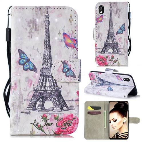 Paris Tower 3D Painted Leather Wallet Phone Case for Huawei Y5 (2019)