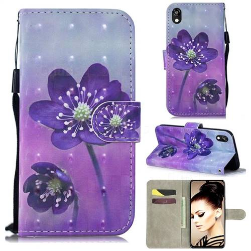 Purple Flower 3D Painted Leather Wallet Phone Case for Huawei Y5 (2019)