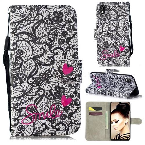 Lace Flower 3D Painted Leather Wallet Phone Case for Huawei Y5 (2019)