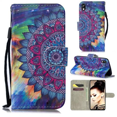 Oil Painting Mandala 3D Painted Leather Wallet Phone Case for Huawei Y5 (2019)