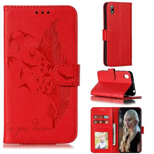 Intricate Embossing Lychee Feather Bird Leather Wallet Case for Huawei Y5 (2019) - Red