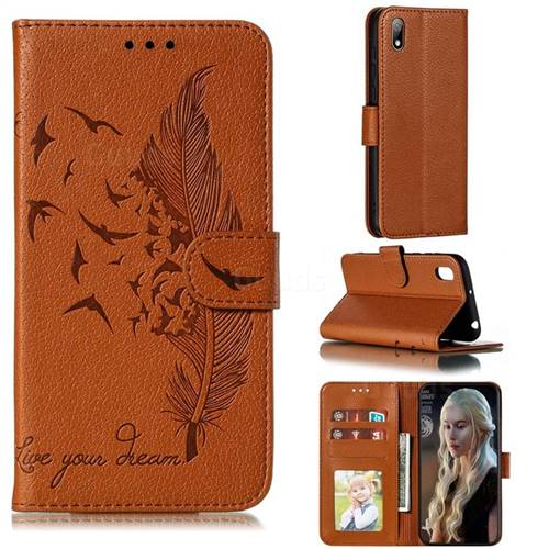 Intricate Embossing Lychee Feather Bird Leather Wallet Case for Huawei Y5 (2019) - Brown