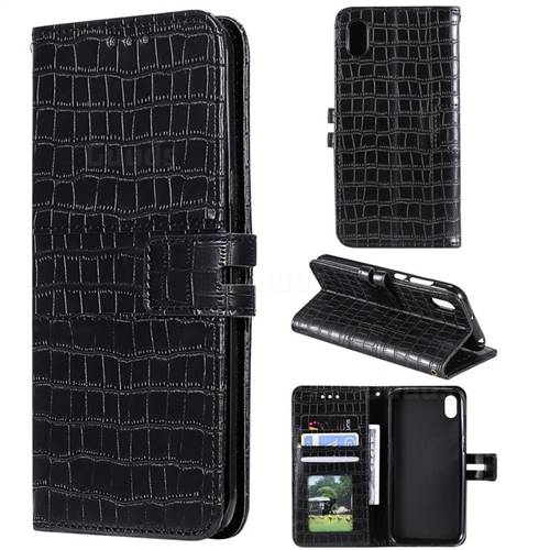 Luxury Crocodile Magnetic Leather Wallet Phone Case for Huawei Y5 (2019) - Black