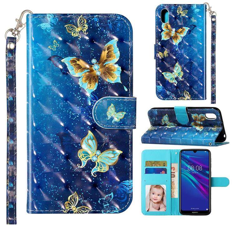 Rankine Butterfly 3D Leather Phone Holster Wallet Case for Huawei Y5 (2019)