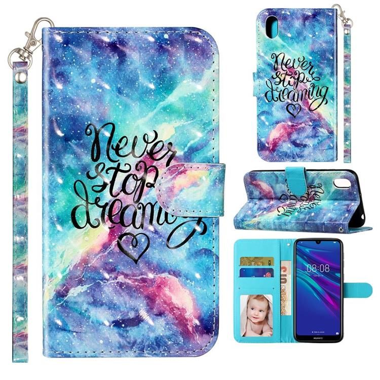 Blue Starry Sky 3D Leather Phone Holster Wallet Case for Huawei Y5 (2019)