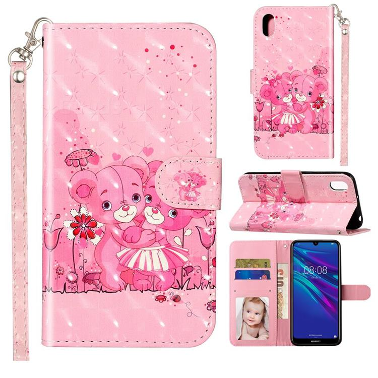 Pink Bear 3D Leather Phone Holster Wallet Case for Huawei Y5 (2019)