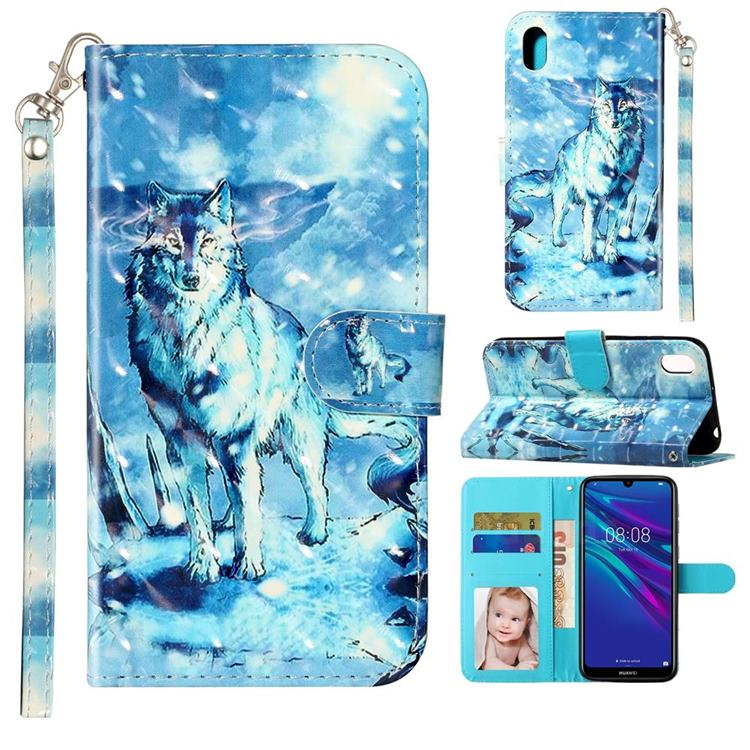Snow Wolf 3D Leather Phone Holster Wallet Case for Huawei Y5 (2019)