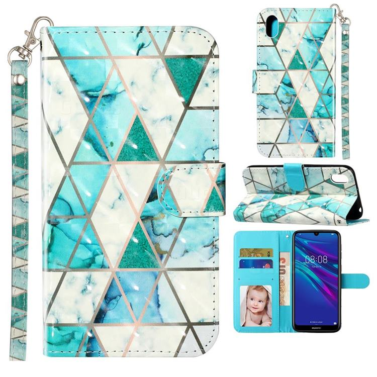 Stitching Marble 3D Leather Phone Holster Wallet Case for Huawei Y5 (2019)