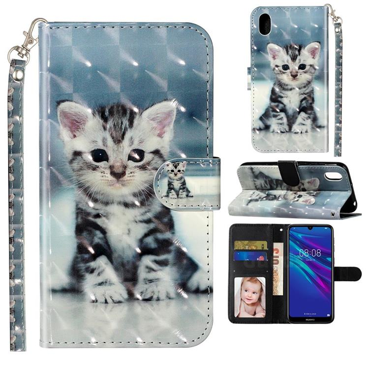 Kitten Cat 3D Leather Phone Holster Wallet Case for Huawei Y5 (2019)