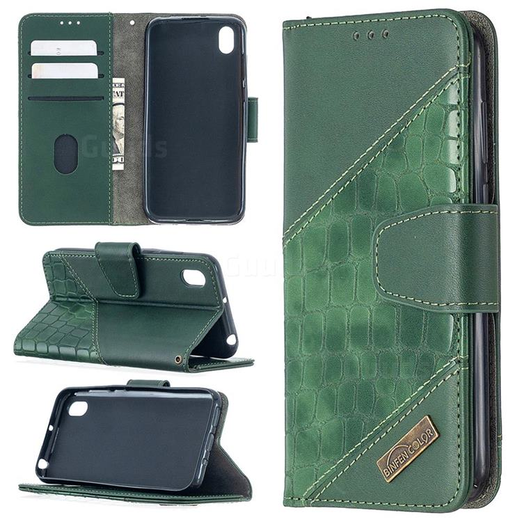 BinfenColor BF04 Color Block Stitching Crocodile Leather Case Cover for Huawei Y5 (2019) - Green