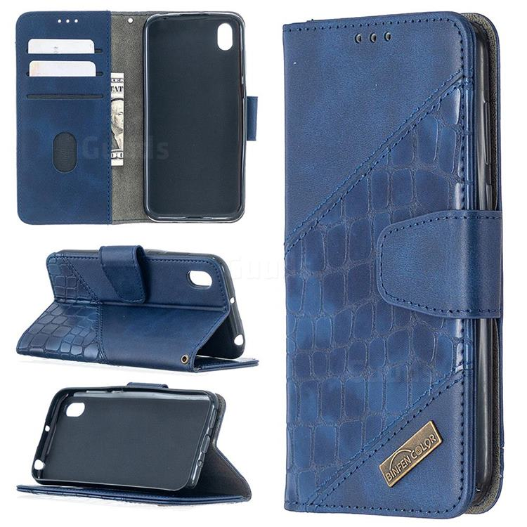 BinfenColor BF04 Color Block Stitching Crocodile Leather Case Cover for Huawei Y5 (2019) - Blue