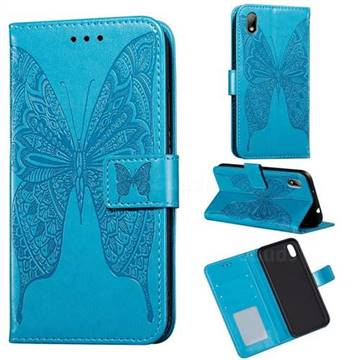 Intricate Embossing Vivid Butterfly Leather Wallet Case for Huawei Y5 (2019) - Blue