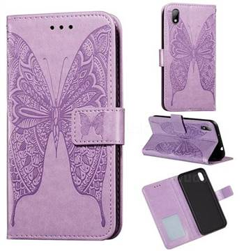 Intricate Embossing Vivid Butterfly Leather Wallet Case for Huawei Y5 (2019) - Purple